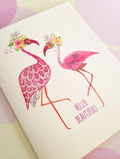 Card Set Flamingo Card Stationery Set of 5 by PikakePress on Etsy Flamingo Art, Pink Flamingos, Tropical, Creme Color, Stationery Set, Everything Pink, Hello Beautiful, Bird Feathers, Note Cards