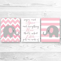 Elephant Print art, Pink and Grey Elephants with Quote, Chevron and Stripes What Little Girls Are Made Of.