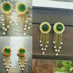 Emerald pearl drops earrings, Indian traditional pretty beautiful earrings.  Pearl earrings, emerald earrings, only by GLISTEN GEMS. Www.facebook.com/glistengems