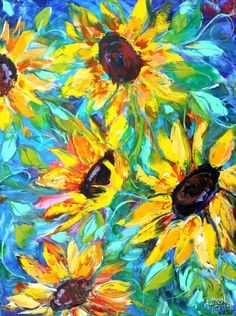 Original oil painting Golden Sunflowers on canvas by Karensfineart