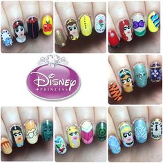 Instagram media by hannah_nails_it - Here's my collection of Disney Princesses! Unfortunately Meg, Mulan, Tiana, Rapunzel, Merida, Elsa and Anna are missing, but this girl has got to get cracking with her Easter manis (full egg-pun intended). Close-ups are on my page if you want to see any extra details  Would you guys like to see a Disney villains collection after my Easter designs? I'm thinking of giving them a go!