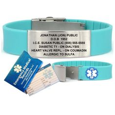 Teal Silicone Sport Medical Alert ID Bracelet. Incl. 6 lines of personalized engraving Universal Medical Data http://www.amazon.com/dp/B00BZA22BE/ref=cm_sw_r_pi_dp_rLlZub1KY04T5