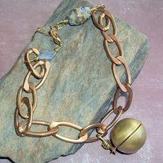 Vintage Locket Lapis Charm Bracelet $20