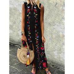 Damen Kleid Kleid Sommer Übergröße Blumig Stilvoll Unregelmäßig Eine Linie