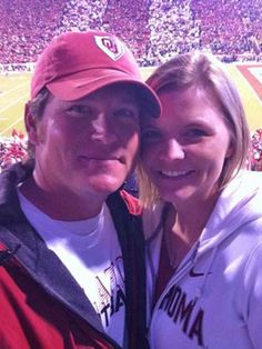 "Home town boy. Kevin Ledoux and his wife, Cara, took in some football during the fall. ""Boomer Sooner!"""