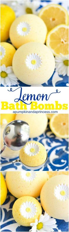 Homemade bath bomb made with lemon essential oil and a sugar daisy on top. Really simple to make with fun and add a personalization and homemade touch to your Mother's Day gift.