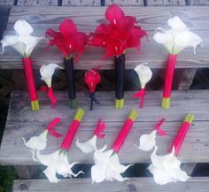 17 Piece Red & White Calla Lily Wedding by SilkFlowersByJean