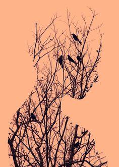 Today I am unfolding before you 30 best double exposure photography examples, a new trend of Double Exposure Photography, Art Photography, Art Amour, Bird Canvas, Gcse Art, Canvas Prints, Art Prints, Canvas Art, Deviant Art