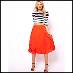 ✔ ASOS Retro Red Orange Full Flow Midi Knee Length Skirt with Pleats | eBay