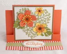 Centre step fancy fold birthday card using Stampin Up Botanical Blooms / Builder dies & Bloomin' Heart die. by Di Barnes 2016 Occasions Catalogue - Annual Catalogue Fancy Fold Cards, Folded Cards, Center Step Cards, Birthday Cards For Women, Interactive Cards, Love Cards, Scrapbook Cards, Scrapbooking, Anniversary Cards