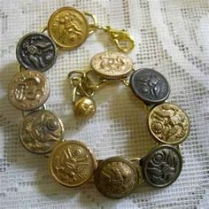 Military Buttons Bracelet  Eagle Naval Anchor Button Jewelry  Vintage Inc  USA Patriotism 4th July Veteran Bracelet  Free Shipping MB200