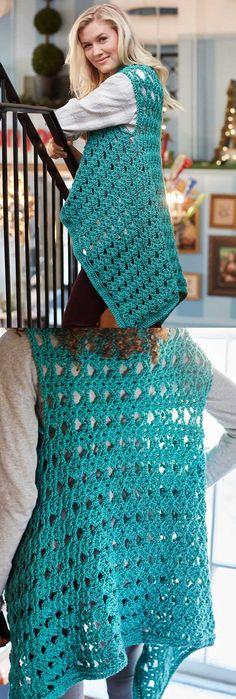 Free Crochet Pattern for a Cozy No Seam Vest.