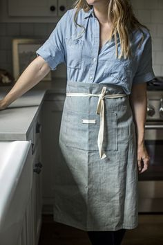 chambray shirt madewell + heirloomed RR striped apron 25% off today / cyber monday