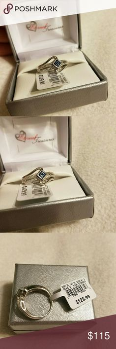 GENUINE BLUE DIAMOND and 975 Sterling silver ring Genuine blue diamonds set in sparkling sterling silver make this ring incredibly vivid!! ?????????? square offset, 2 rows of smaller diamonds on each side, and an additional loop of silver complete this beauty! ORIGINAL TAGS STILL ATTACHED! Brand new and comes with original box from Eternal Treasures. Color best seen in cover photo. Approximately size 8 Eternal Treasures  Jewelry Rings