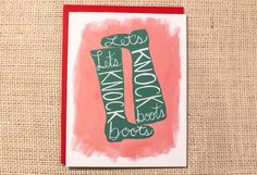 funny Valentines day card, casual valentine, sexy quote, anniversary card, love card, Let's Knock Boots