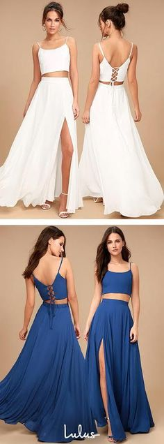 Simple Two Piece Prom Dress, Spaghetti Straps Long Party Dress, Slit Evening Dress, Shop plus-sized prom dresses for curvy figures and plus-size party dresses. Ball gowns for prom in plus sizes and short plus-sized prom dresses for Pretty Dresses, Beautiful Dresses, Cheap Prom Dresses, Formal Dresses, Maxi Dresses, Two Piece Dress, Look Fashion, Fashion 2018, Dress Fashion