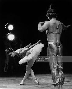 British ballet dancer Margot Fonteyn (Margaret Evelyn Hookham) bowing in a figure from the pas de deux with Russian-born Austrian ballet dancer Rudolf Nureyev in the ballet The Corsair at La Scala Theatre. Milan, September 1966.