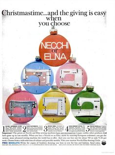 Automatic at lowest price. Does all your regular sewing plus decorative stitches; sews on buttons. Mine looks exactly the same as this. Christmas Ad, Christmas Bulbs, Vintage Sewing Machines, Life Magazine, Buttonholes, Ads, Holiday Decor, Blog, Crafts