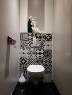 WC suspendu Black and White - carreau de ciment gatsby décor - #Black #carreau #ciment #de #Decor #gatsby #suspendu #WC #white