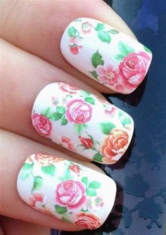 Amazon.com: NiceDeco - nail stickers nail tattoo nail deacl water transfers floral wild hedge row roses/buds: Beauty