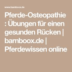 Pferde-Osteopathie: Übungen für einen gesunden Rücken | barnboox.de | Pferdewissen online