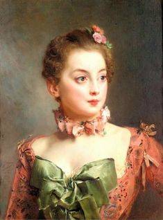 Portrait of a Lady, by Gustave Jean Jacquet (1846-1909) Beautiful green bows en echelle! Description from pinterest.com. I searched for this on bing.com/images
