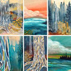 Art by Canadian artist April Lacheur. Tree Paintings, Original Paintings, Nature Artists, Art Bag, Canadian Artists, British Columbia, Bold Colors, West Coast, Color Splash