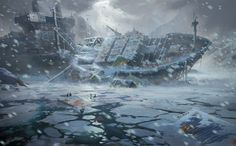 Apocalyptic dark horror winter snow ship wreck ruins ice sci-fi fantasy wallpaper | 2000x1242 | 117570 | WallpaperUP