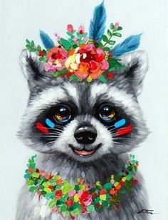 ANIMAL POP-ART Table Raccoon with necklace and crown of flowers – Info and Dimensions Width: 50 cm – Depth: cm – Height: 70 cm – Composition: Canvas on wood, Acrylic paint – Finishes: Gyclé paint – Weight : kg – Watercolor Animals, Watercolor Art, Painting Abstract, Abstract Landscape, Painting Art, Cute Drawings, Animal Drawings, Tableau Pop Art, Pop Art Drawing