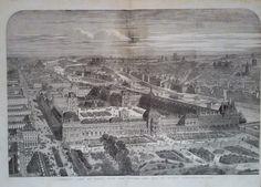 1855 PRINT PANORAMIC VIEW OF PARIS