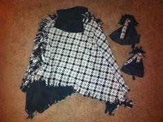 No-sew babywearing fleece poncho coat and matching no-sew fleece hats
