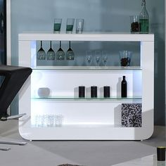 Fiesta Bar Table In White High Gloss And Glass Shelves