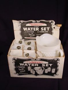 Water Water everywhere but not a drop to spare still new in box anchor hocking whitehobnail milk glass water set RARE
