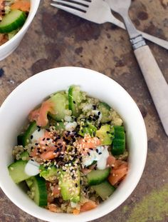 Quinoa met zalm en avocado – Food And Drink Easy Dinner Recipes, Easy Meals, Brenda, Crunch, How To Cook Quinoa, Clean Eating Snacks, Paleo Recipes, Food Inspiration, Good Food