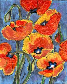 8x10 Mixed Media...Poppy Power by Jacqueline Brown
