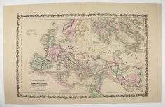 Antique Map of Roman Empire 1861 Johnson Vintage Europe Map Middle East Unique Gift for Home Historical Map Anniversary Gift Mediterranean by OldMapsandPrints on Etsy