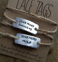 personalized running shoe tags {SINGLE or SETofTWO} . gift for runner . inspiration for runner . Gifts For Triathletes, Best Trail Running Shoes, Cross Country Running Shoes, Running Buddies, Gifts For Runners, Fitness Gifts, Team Gifts, Stamped Jewelry, Metal Stamping