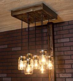 Mason Jar Reclaimed Wood Chandelier, 7 Pendants | Crafted with reclaimed wood and clear Mason jars, this rustic ... |