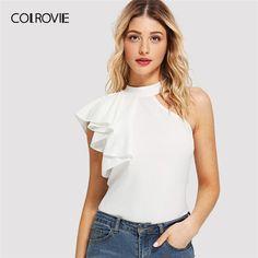 Shop One Side Flounce Trim Top online. SheIn offers One Side Flounce Trim Top & more to fit your fashionable needs. Fashion News, Fashion Outfits, Womens Fashion, Fashion Trends, Stylish Outfits, Fashion Fashion, Vintage Fashion, Divas, Clothes For Women