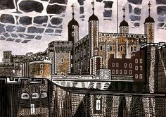 Edward Bawden: i like the level of detail Bawden gets into his Lino Cuts and how he integrates colour into his work to create tone Tower Of London, London Art, London Illustration, Illustration Art, Royal College Of Art, Wood Engraving, Textile Artists, Travel Posters, Scrap