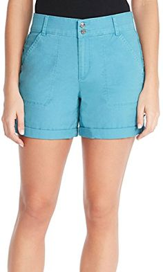 Gloria Vanderbilt Twill Shorts Steel Blue 10 -- For more information, visit image link. (This is an affiliate link) Spring Shorts, Casual Shorts, Women's Shorts, Gloria Vanderbilt, Fashion Brands, Short Dresses, Topshop, Image Link, Blue