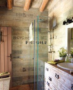 Ba o con ducha con mampara de cristal baldosas tonos - Precio baldosas bano ...