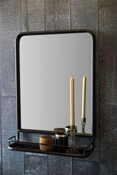 Black Wall Mirror with Shelf - Portrait