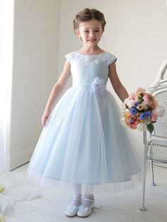 I absolutely love this one! Adorable Boat Neckline Satin Flower Girl Dress with Tulle Skirt