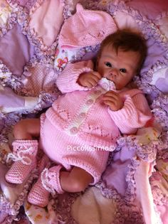 Available NOW! 4 piece pink knitted set for a newborn baby by Piccolissimo https://www.etsy.com/listing/158857222/4-piece-pink-knitted-set-for-a-newborn? #reborn #baby #clothing #doll knitted baby set