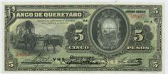 Mexico banknotes 5 Pesos banknote issued by the El Banco de Queretaro Mexican…