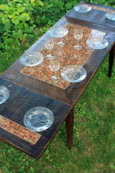 Dining Table Mosaic Tile Rustic by natureinspiredcrafts on Etsy, $1550.00