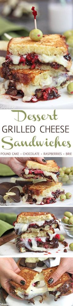 Dessert Grilled Cheese Sandwiches - amazingly delicious dessert sandwiches made with pound cake, chocolate, raspberries, and brie cheese! | From http://SugarHero.com