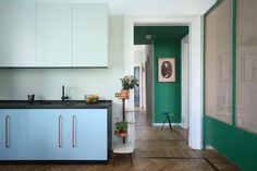 Relationship with nature and memories of space were the driving concepts behind this whimsical Milan apartment renovation by Marcante-Testa. Kitchen Cabinet Colors, Kitchen Paint, Kitchen Design, Kitchen Cabinets, Wall Cabinets, Kitchen Colors, Kitchen Photos, Kitchen On A Budget, Kitchen Ideas