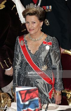 King Harald, Queen Sonja, Crown Prince Haakon & Crown Princess Mette-Marit Of Norway Visit The United Kingdom.Banquet At London'S Guildhall, Attended By The Duke & Duchess Of Gloucester. .